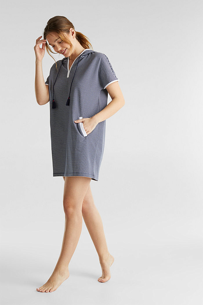 Hooded dress with stripes, 100% cotton