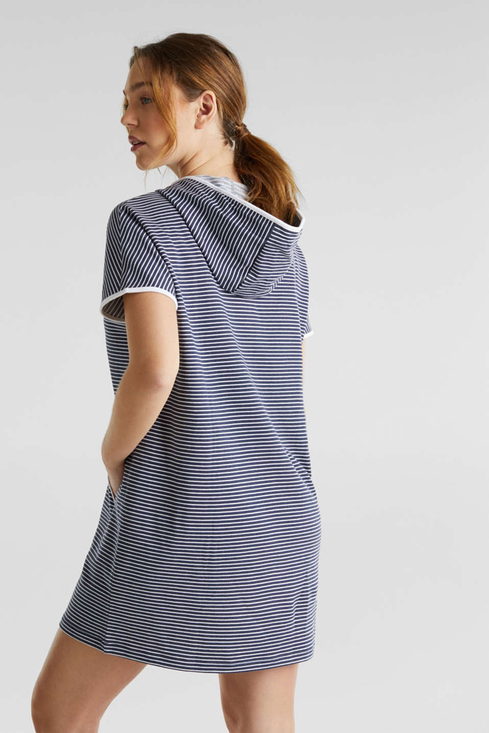 Hooded dress with stripes, 100% cotton, NAVY 2, detail image number 1