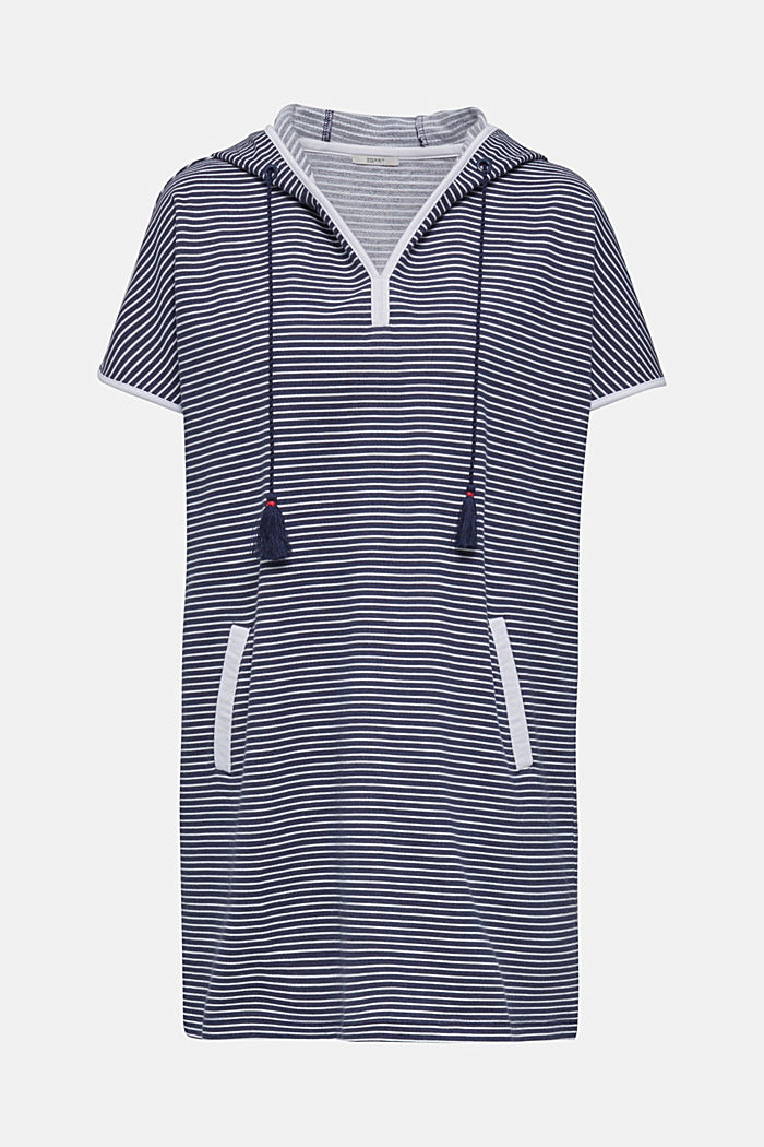 Hooded dress with stripes, 100% cotton, NAVY, detail image number 2