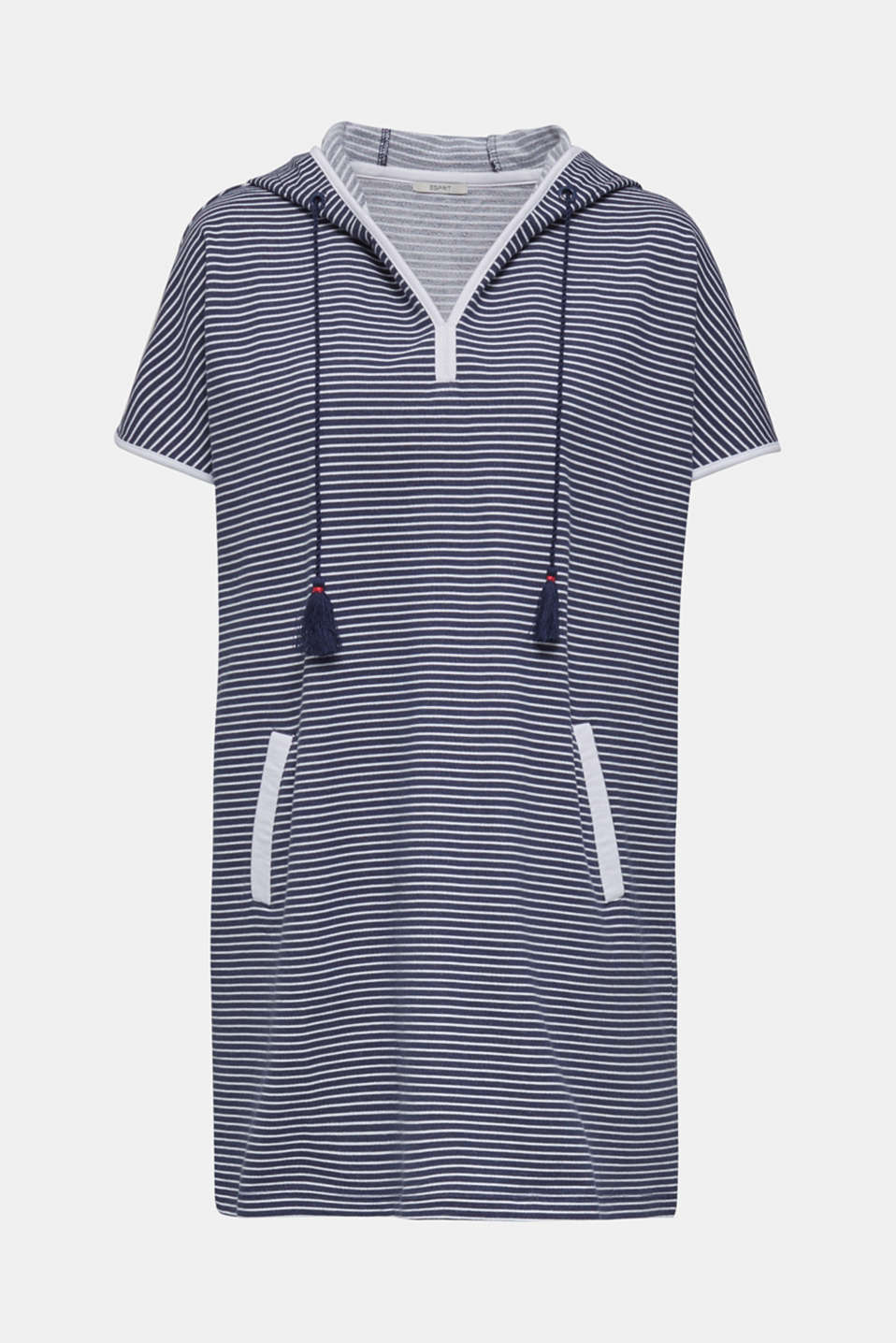 Hooded dress with stripes, 100% cotton, NAVY 2, detail image number 2