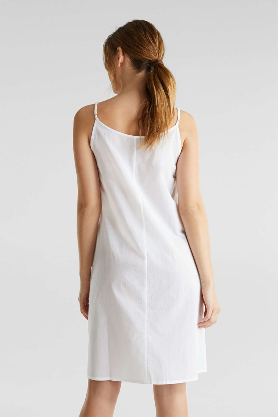 Beach dress with broderie anglaise, 100% cotton, WHITE, detail image number 1