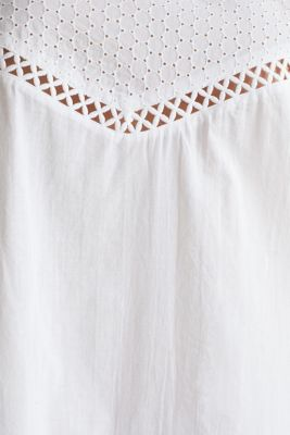 Casual dress with embroidery, 100% cotton, WHITE, detail