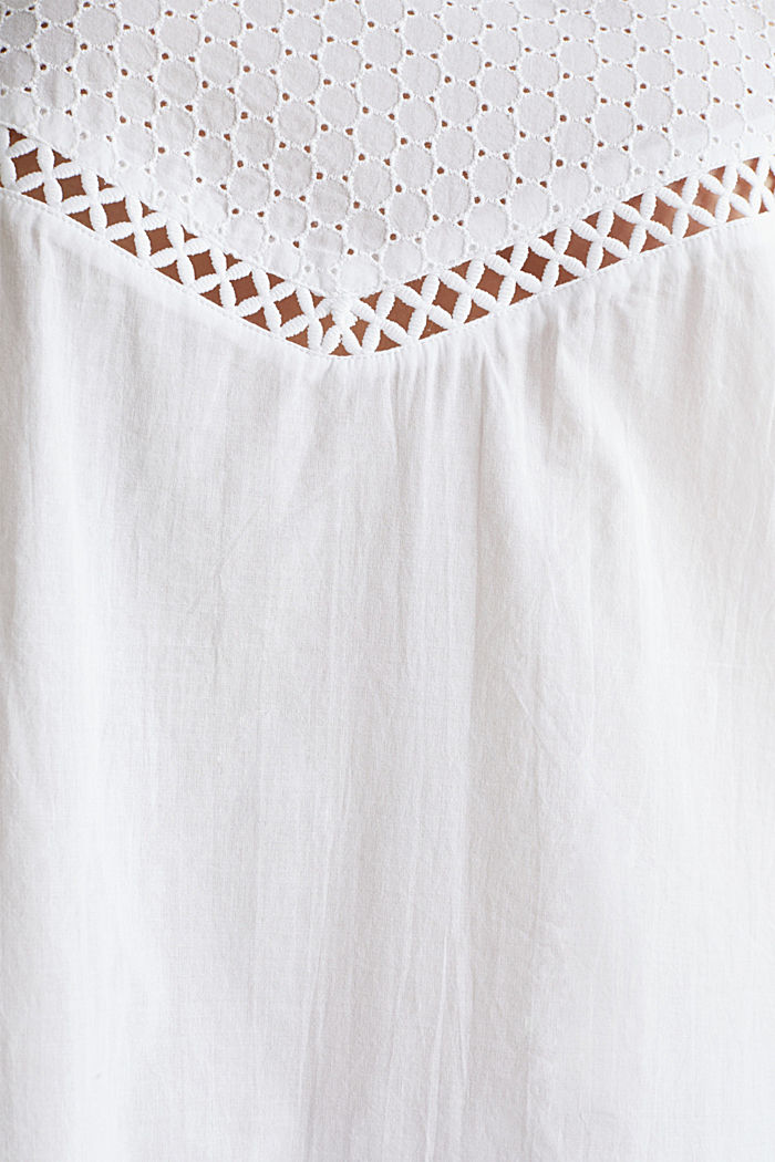 Casual dress with embroidery, 100% cotton, WHITE, detail image number 3