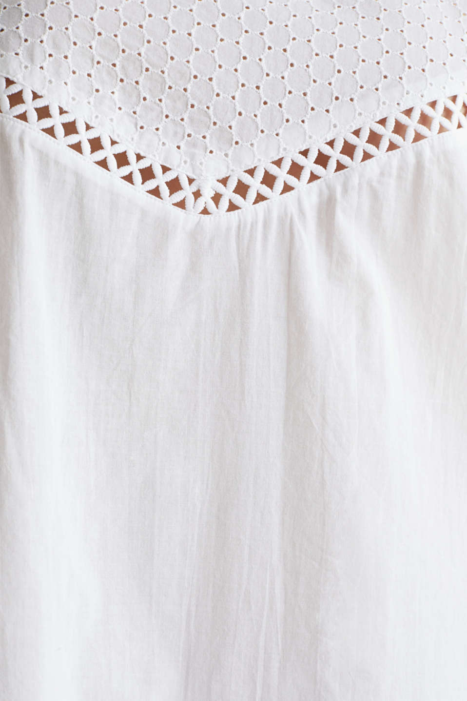 Beach dress with broderie anglaise, 100% cotton, WHITE, detail image number 3