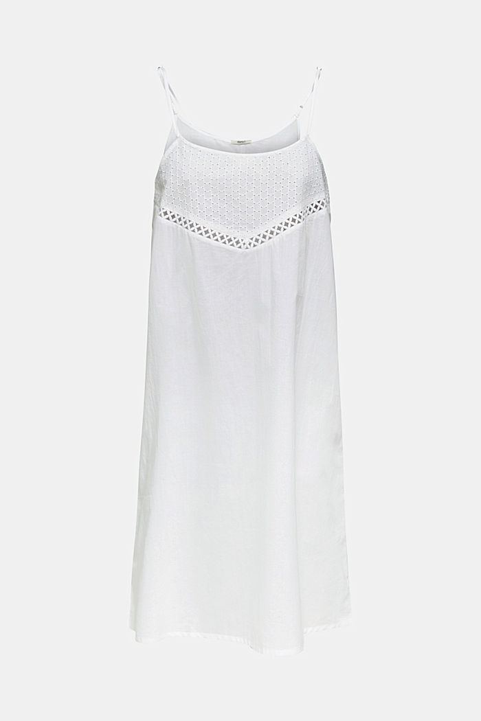 Casual dress with embroidery, 100% cotton, WHITE, detail image number 2
