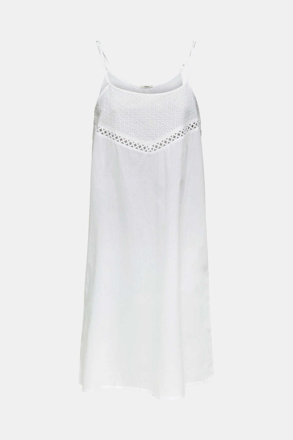 Beach dress with broderie anglaise, 100% cotton, WHITE, detail image number 2