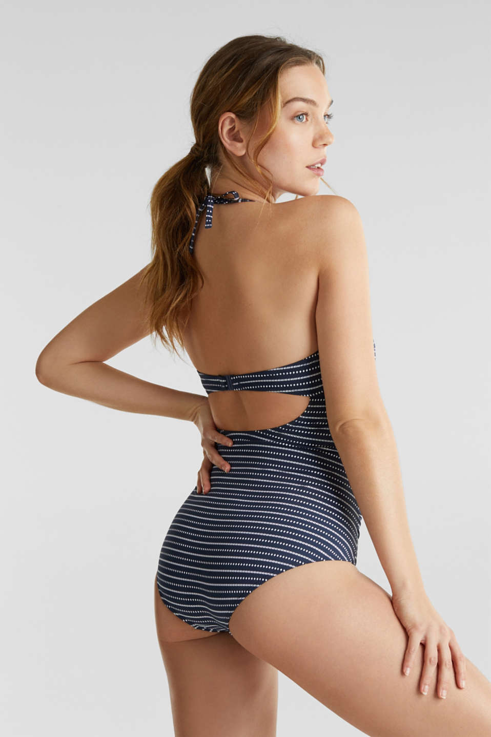 Shaping swimsuit with a halterneck, NAVY 2, detail image number 1