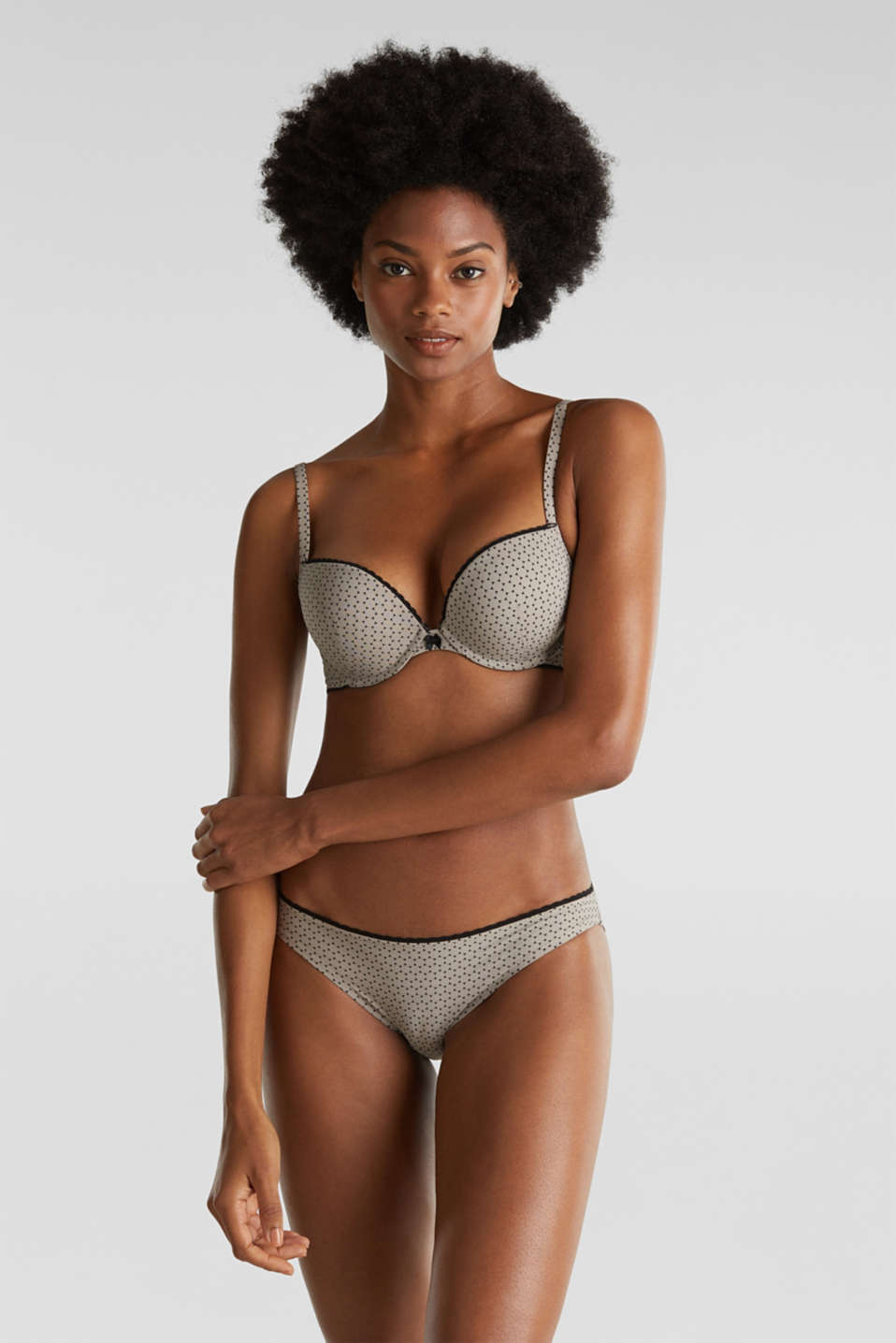 Heavily padded push-up bra with a geometric print, LIGHT TAUPE, detail image number 0