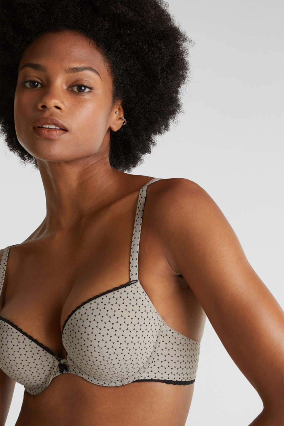 Heavily padded push-up bra with a geometric print, LIGHT TAUPE, detail image number 2