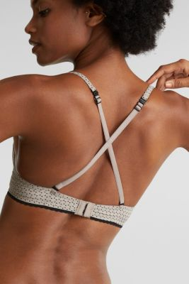 Heavily padded push-up bra with a geometric print, LIGHT TAUPE, detail