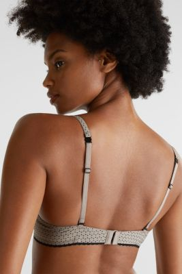 Unpadded underwire bra with a graphic print, LIGHT TAUPE, detail