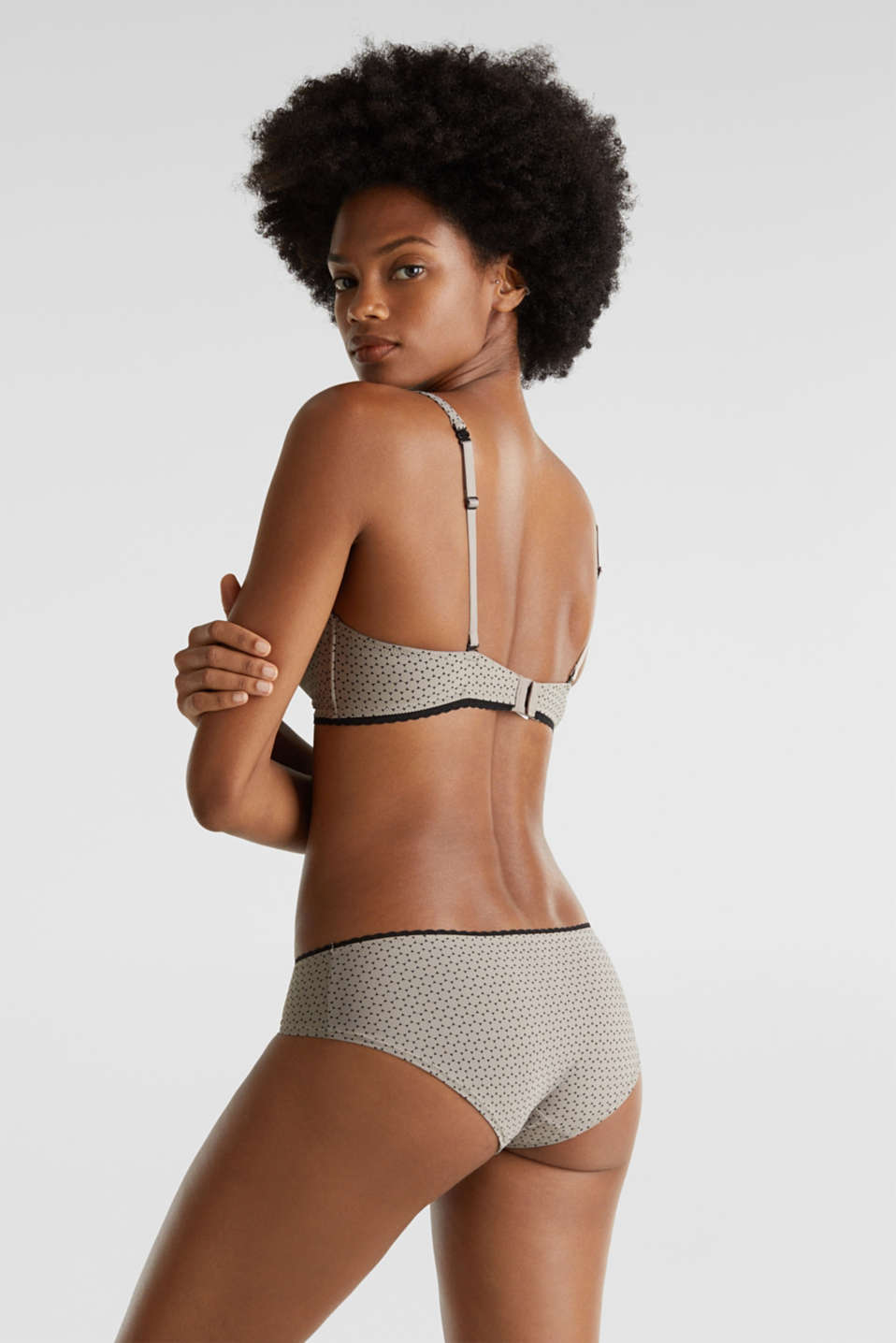 Soft bra with a geometric print, LIGHT TAUPE, detail image number 1