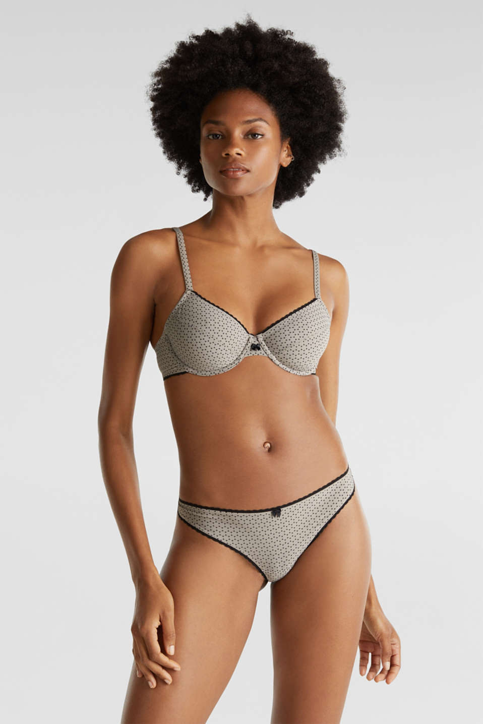 Hipster thong with a geometric print, LIGHT TAUPE, detail image number 0