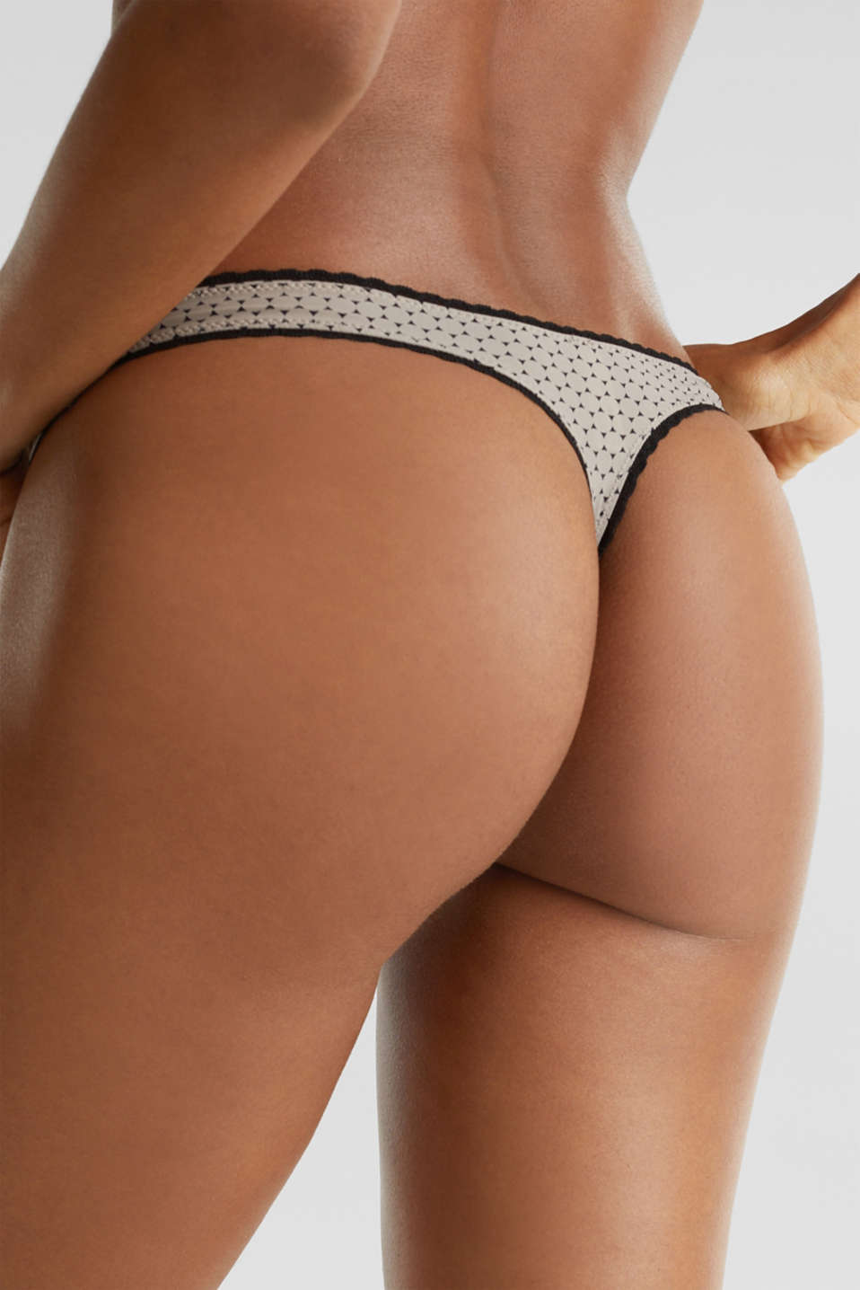 Hipster thong with a geometric print, LIGHT TAUPE, detail image number 3