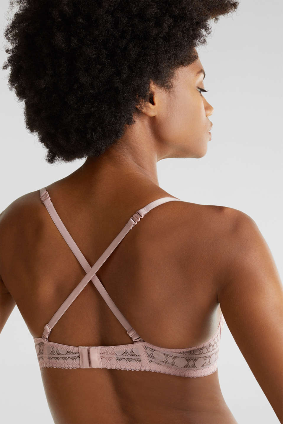 Push-up bra made of graphic lace, OLD PINK, detail image number 3