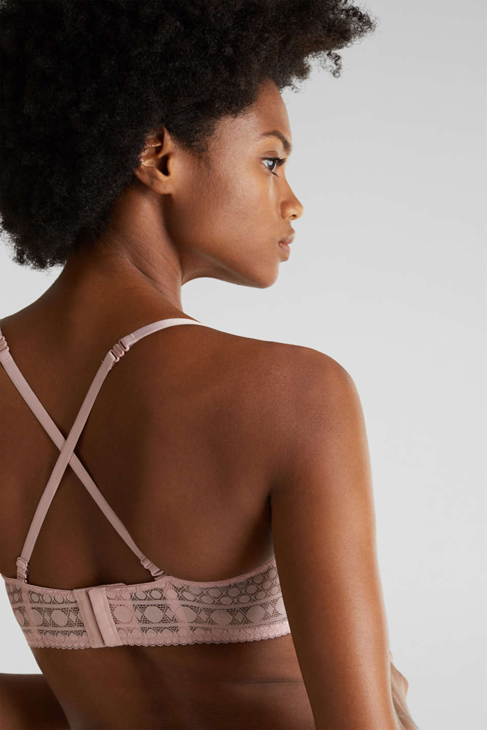 Padded underwire bra in graphic lace, OLD PINK, detail image number 2