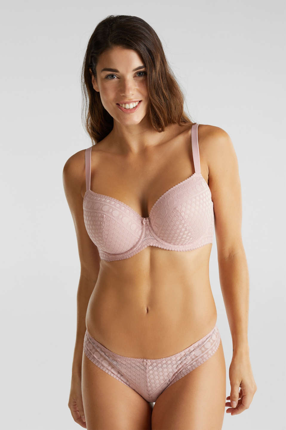 Padded, underwire bra for large cup sizes, OLD PINK, detail image number 0