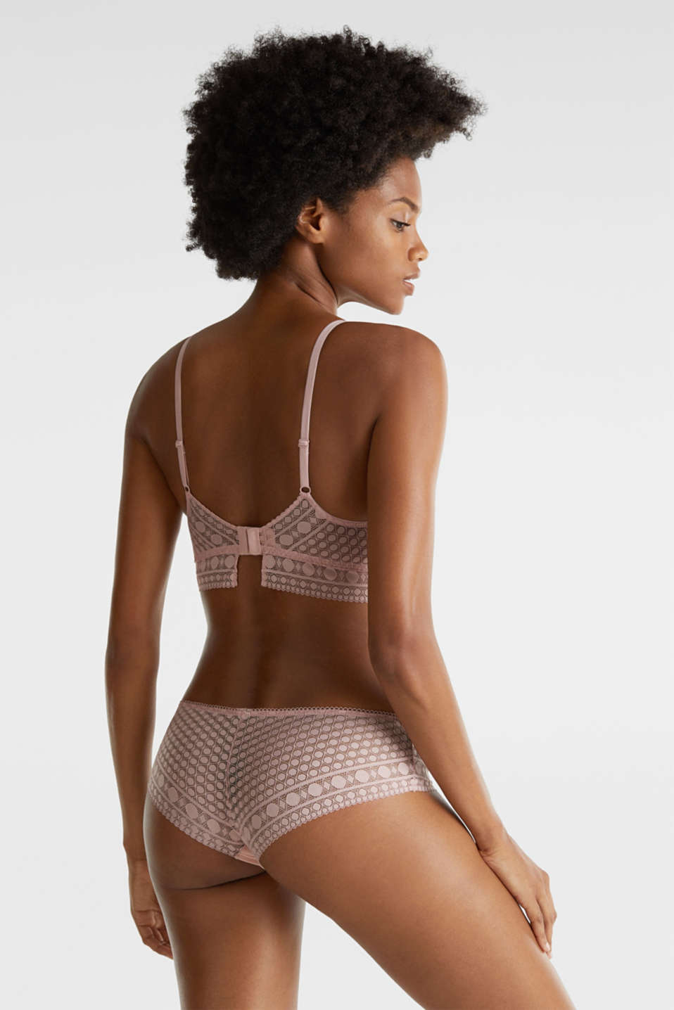 Soft bra in geometric lace, OLD PINK, detail image number 1