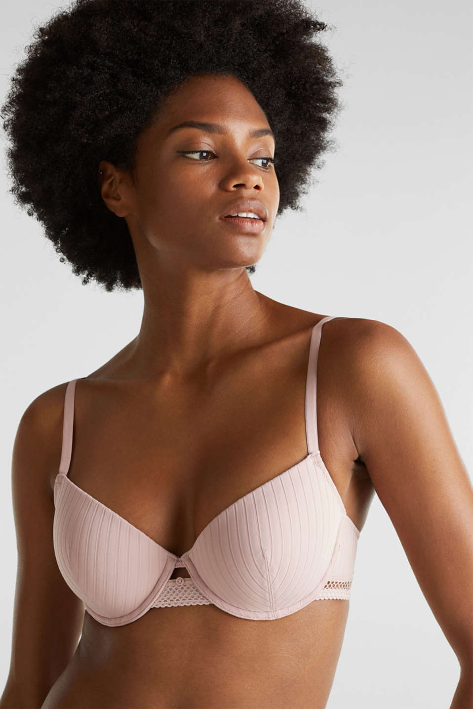 Padded underwire bra with a ribbed texture, OLD PINK, detail image number 3