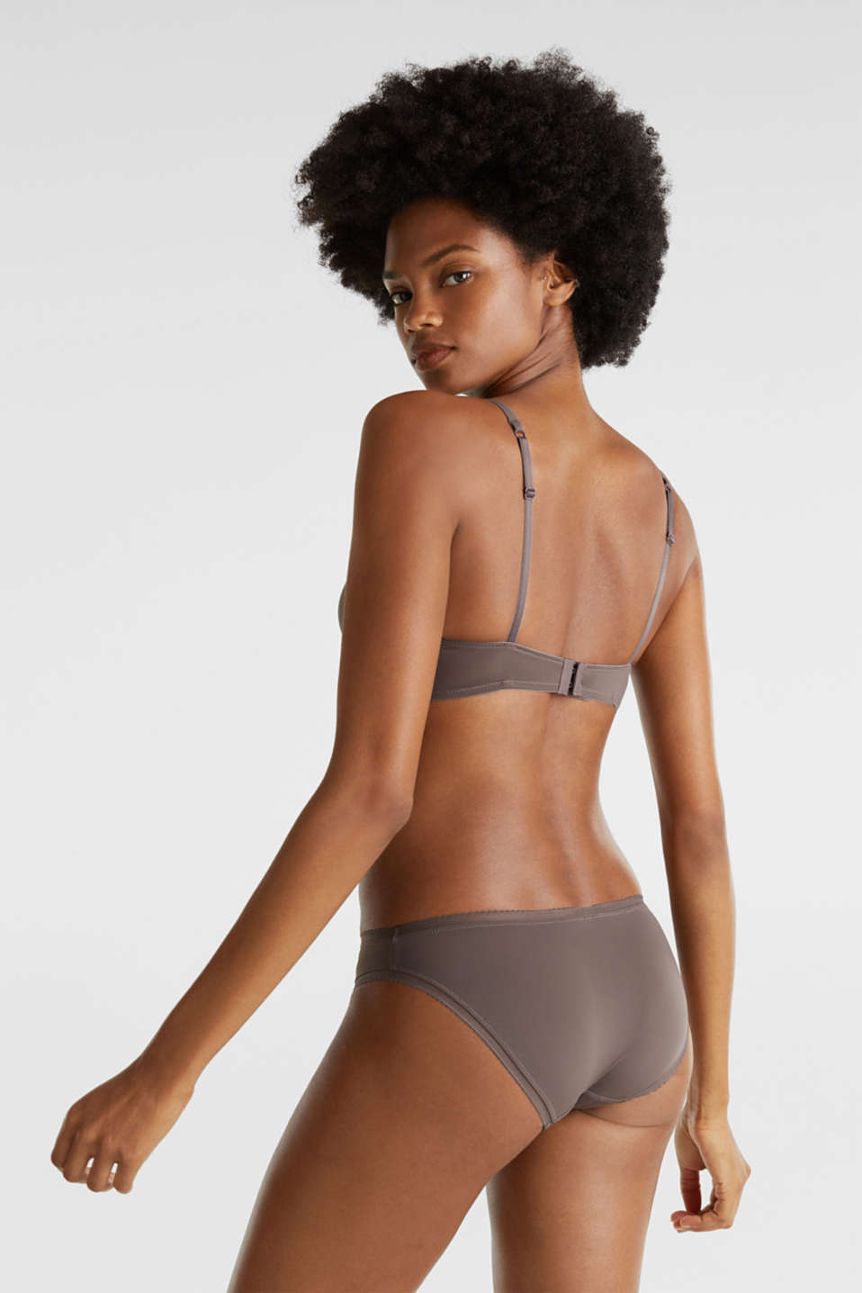 Padded underwire bra with pinstripes, TAUPE, detail image number 1
