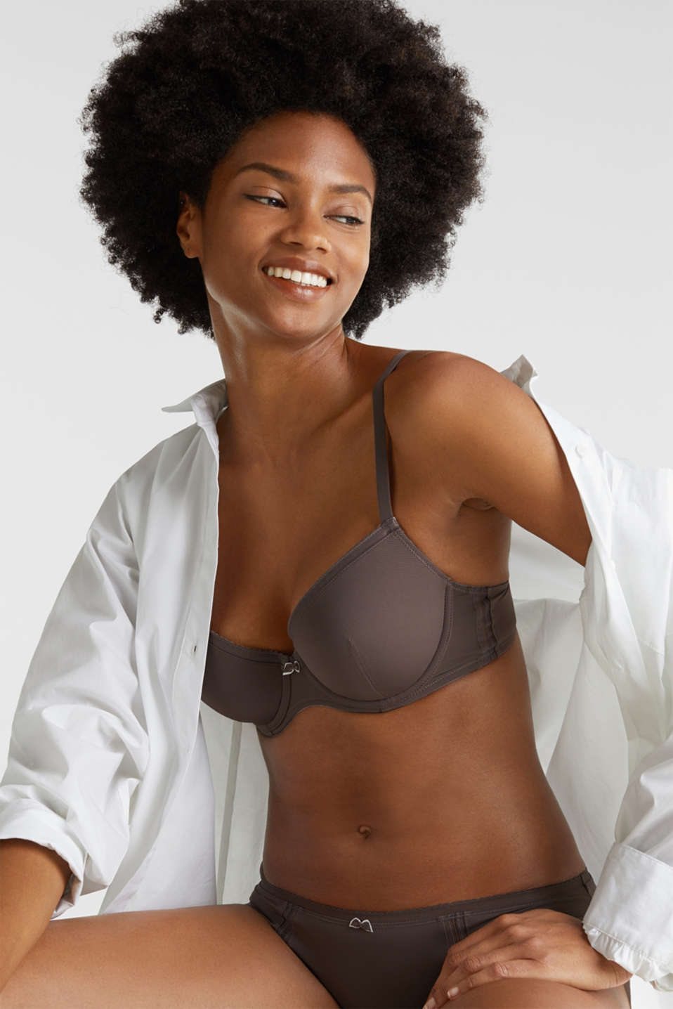Padded underwire bra with pinstripes, TAUPE, detail image number 2