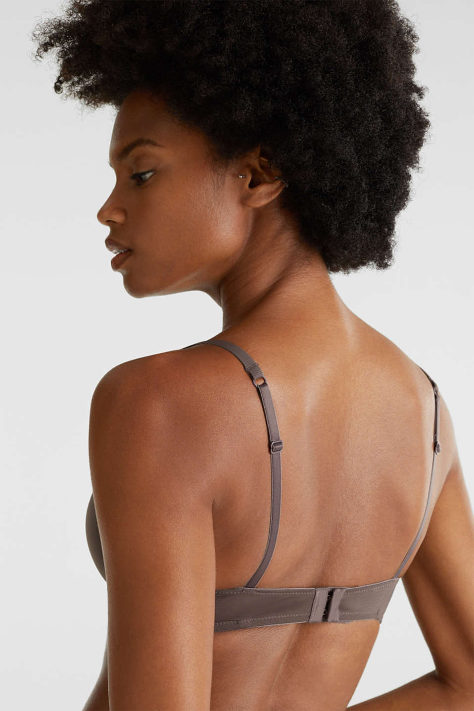 Padded underwire bra with pinstripes, TAUPE, detail image number 3