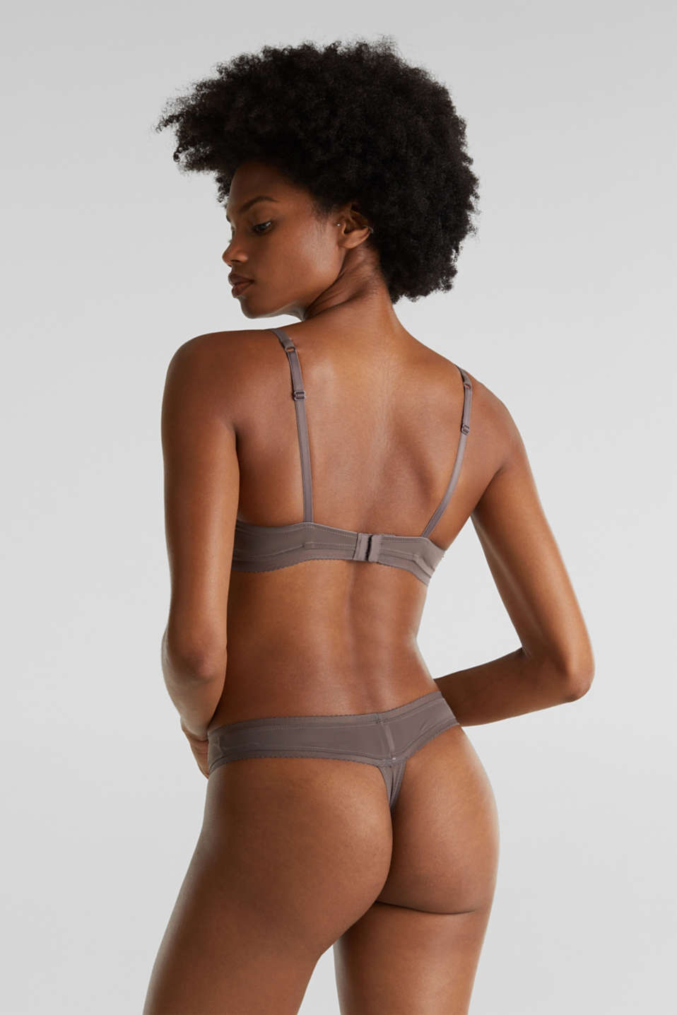 Unpadded underwire bra with stripes, TAUPE, detail image number 1