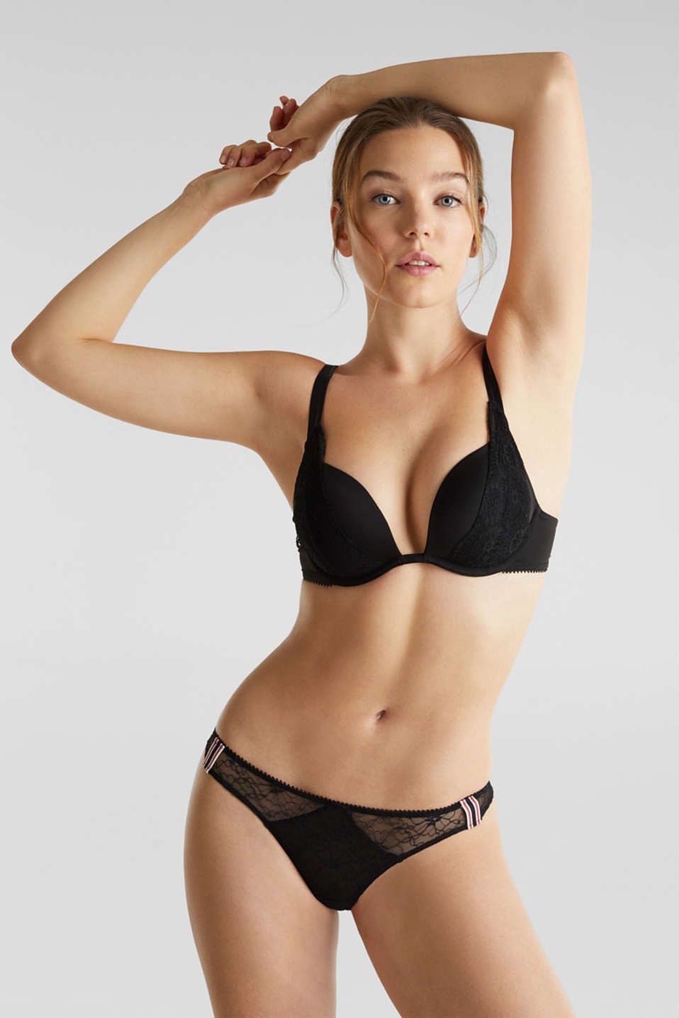 Layered-effect, push-up bra, BLACK, detail image number 0