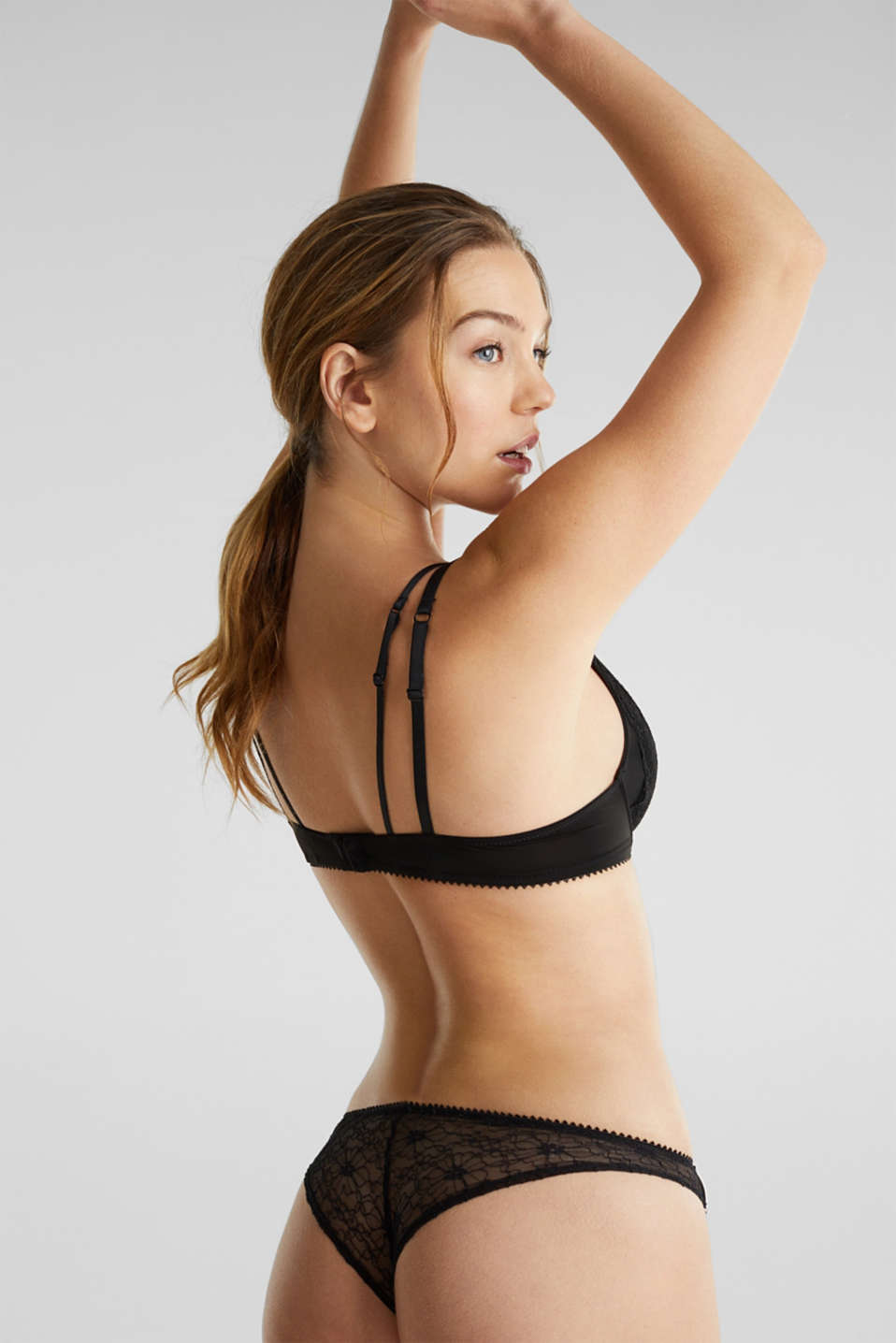 Layered-effect, push-up bra, BLACK, detail image number 1
