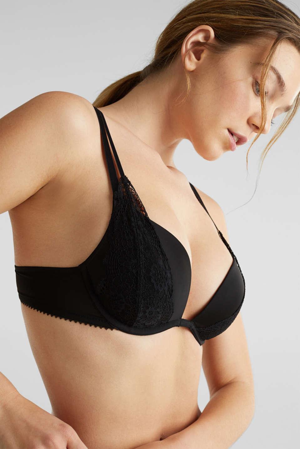Layered-effect, push-up bra, BLACK, detail image number 2