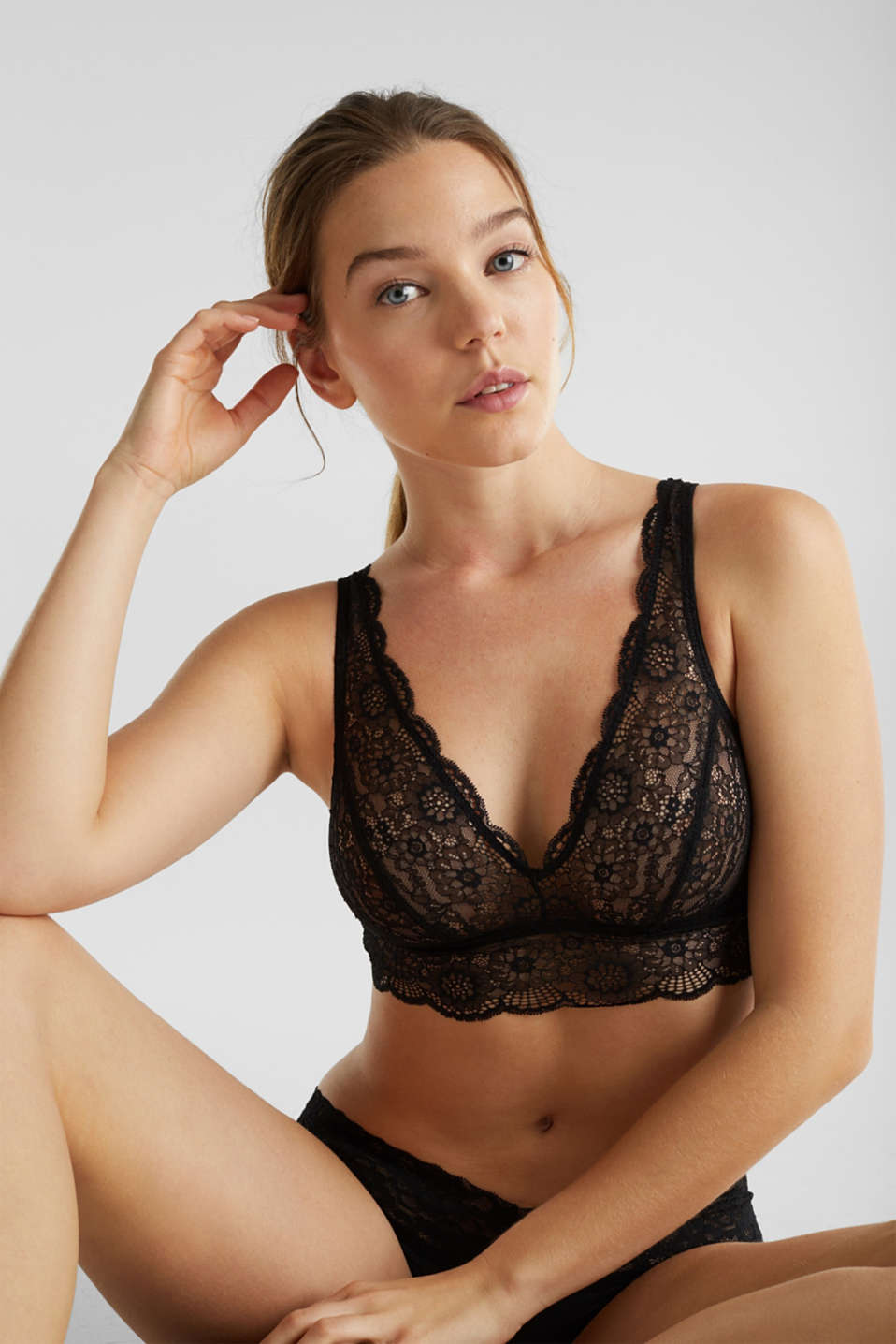 2-in-1: bra and crop top made of microfibre/lace, BLACK, detail image number 0