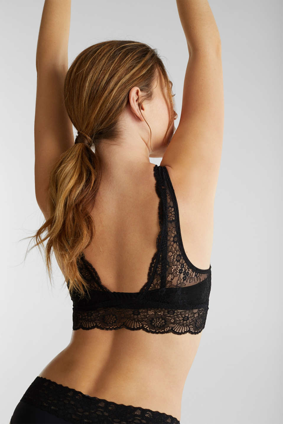 2-in-1: bra and crop top made of microfibre/lace, BLACK, detail image number 1
