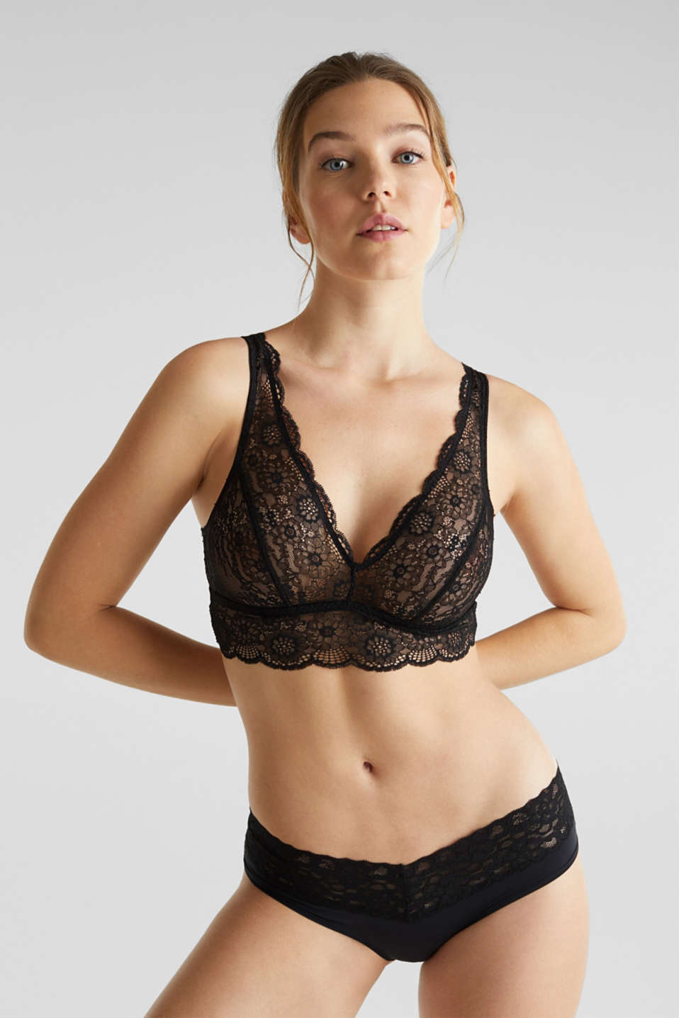 2-in-1: bra and crop top made of microfibre/lace, BLACK, detail image number 2
