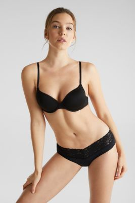2-in-1: bra and crop top made of microfibre/lace, BLACK, detail