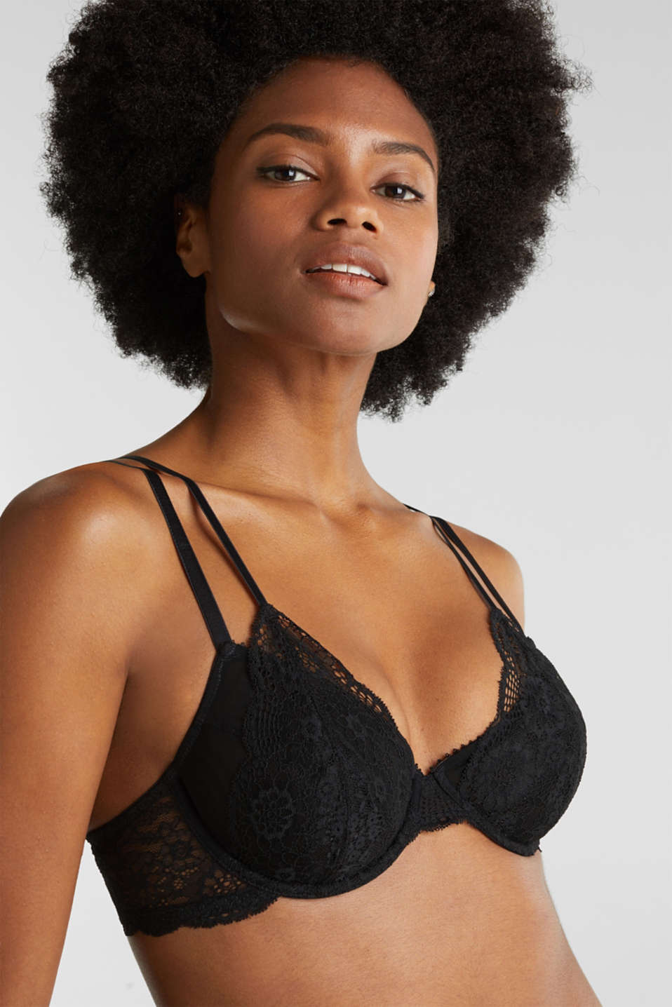 Unpadded underwire bra in lace and mesh, BLACK, detail image number 2