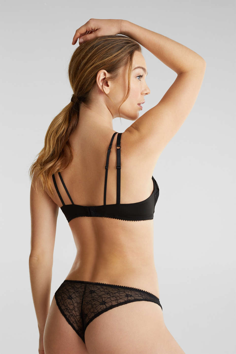 Layered-effect bra - padded and non-wired, BLACK, detail image number 1