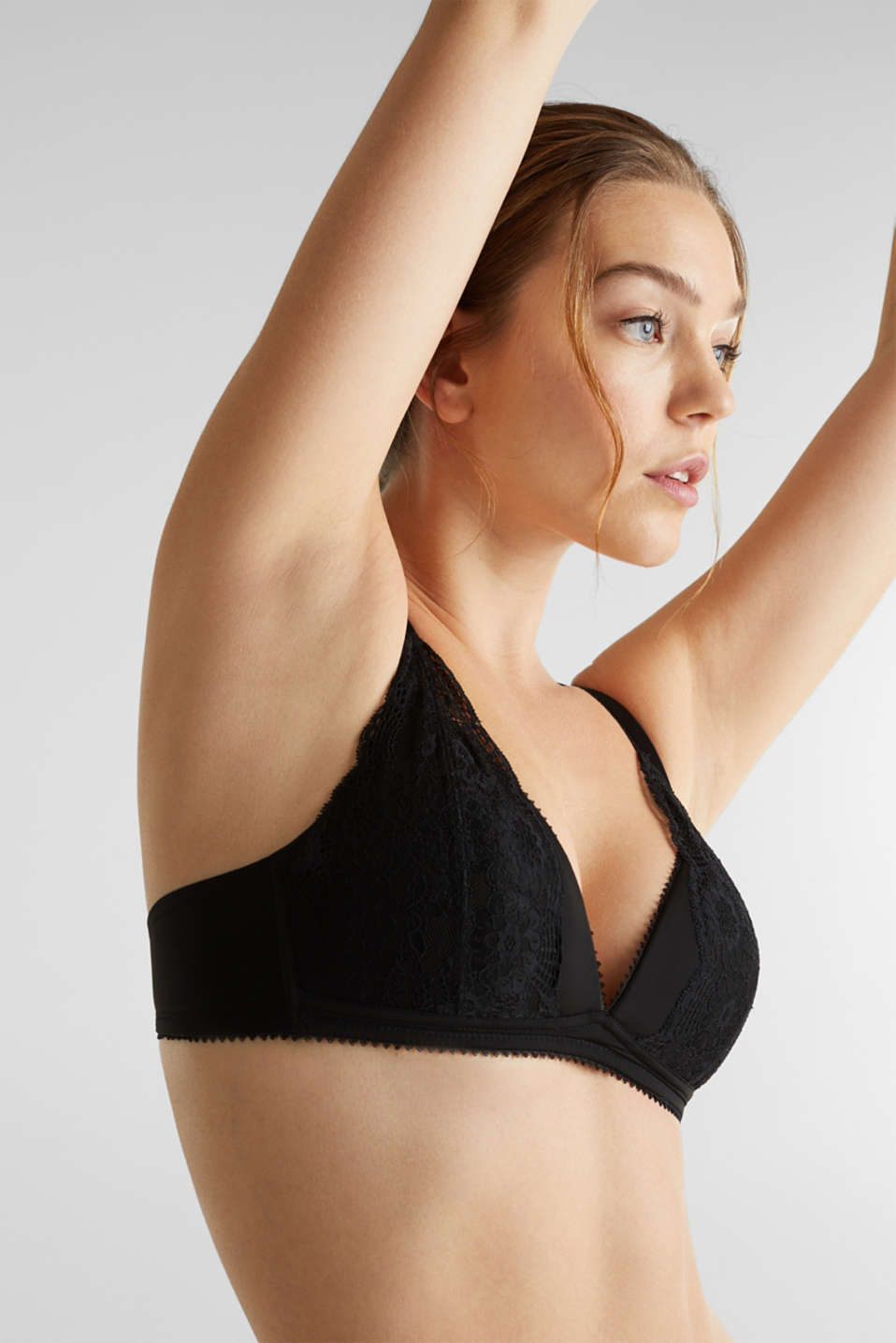 Layered-effect bra - padded and non-wired, BLACK, detail image number 2