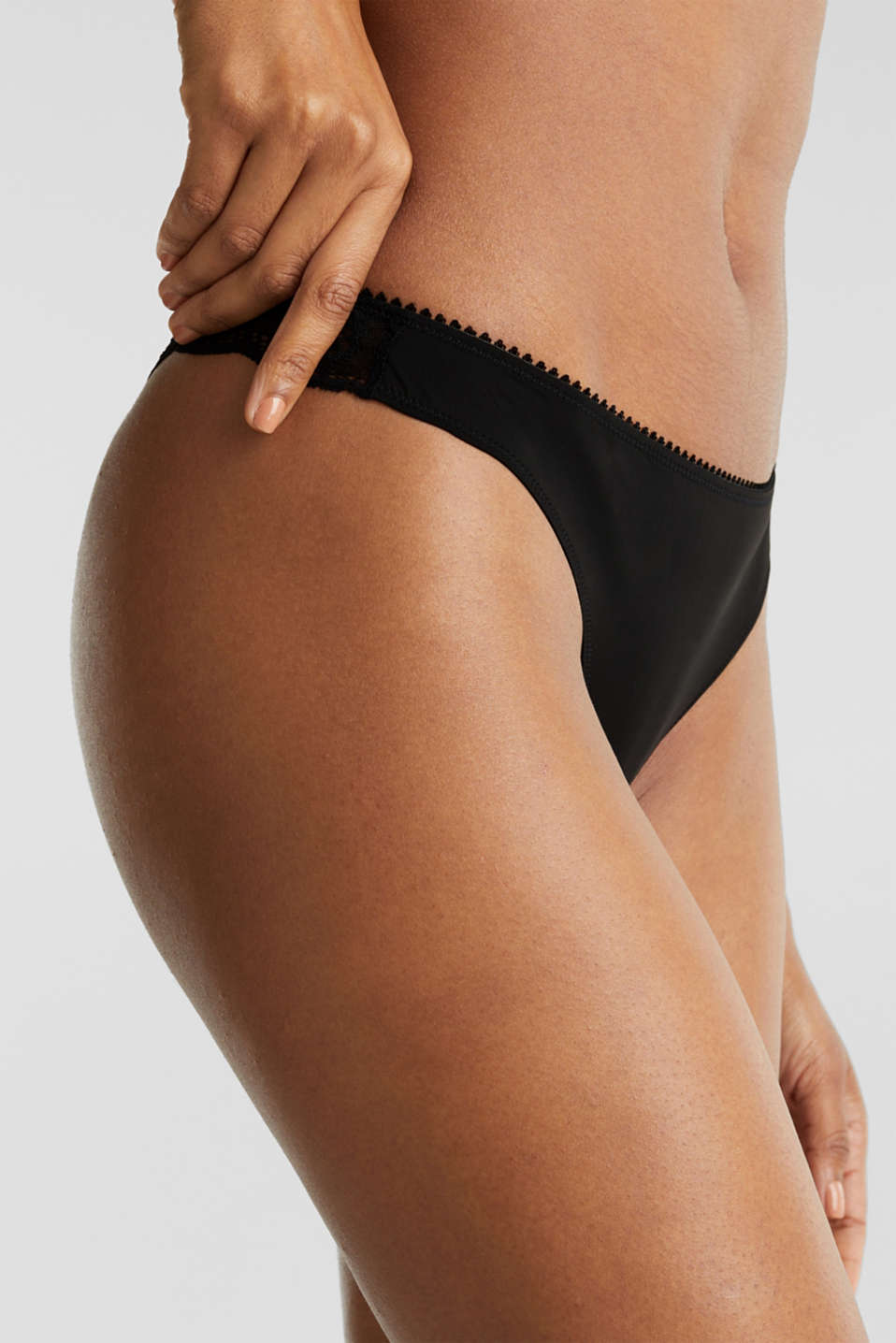 Microfibre/lace hipster thong, BLACK, detail image number 1