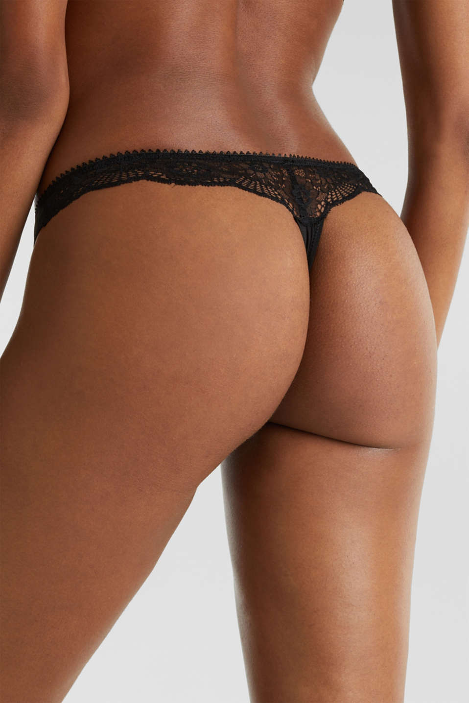 Microfibre/lace hipster thong, BLACK, detail image number 3