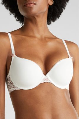 Padded underwire bra with printed lace, OFF WHITE, detail