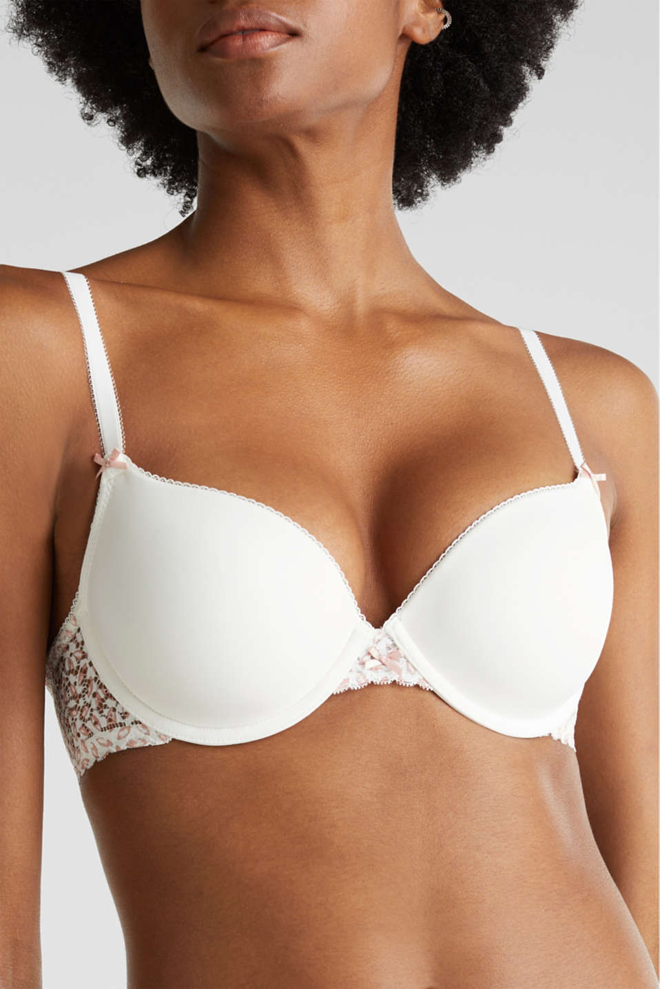 Padded underwire bra with printed lace, OFF WHITE, detail image number 3
