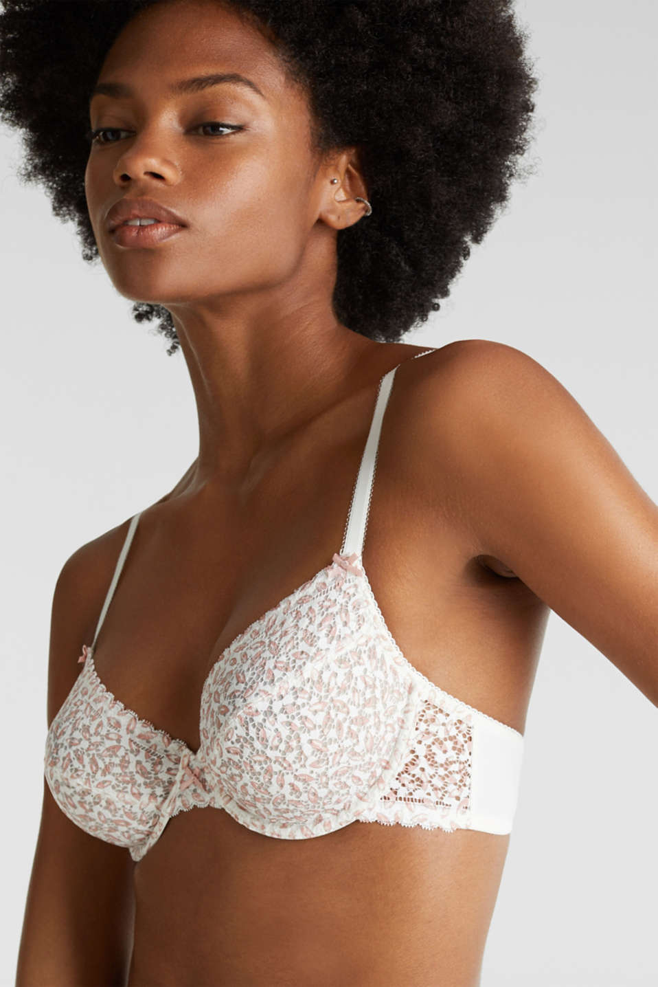 Unpadded, underwire bra made of printed lace, OFF WHITE, detail image number 3