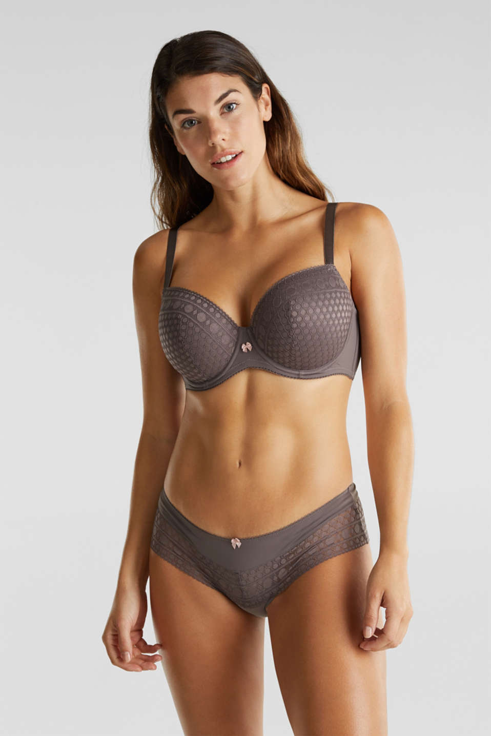 Padded, underwire bra for large cup sizes, TAUPE, detail image number 0