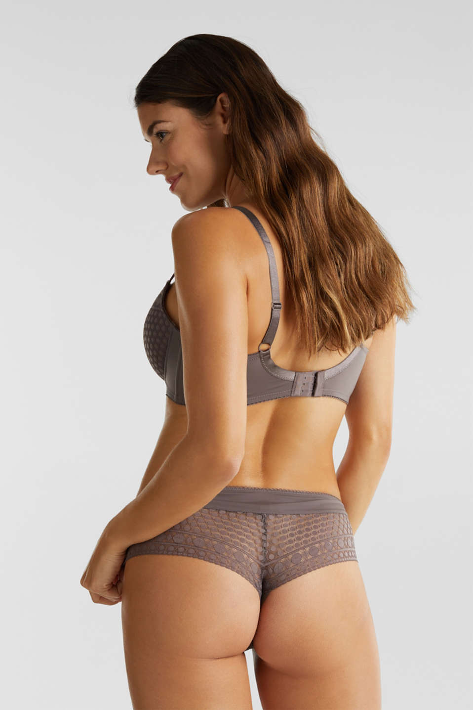 Padded, underwire bra for large cup sizes, TAUPE, detail image number 1