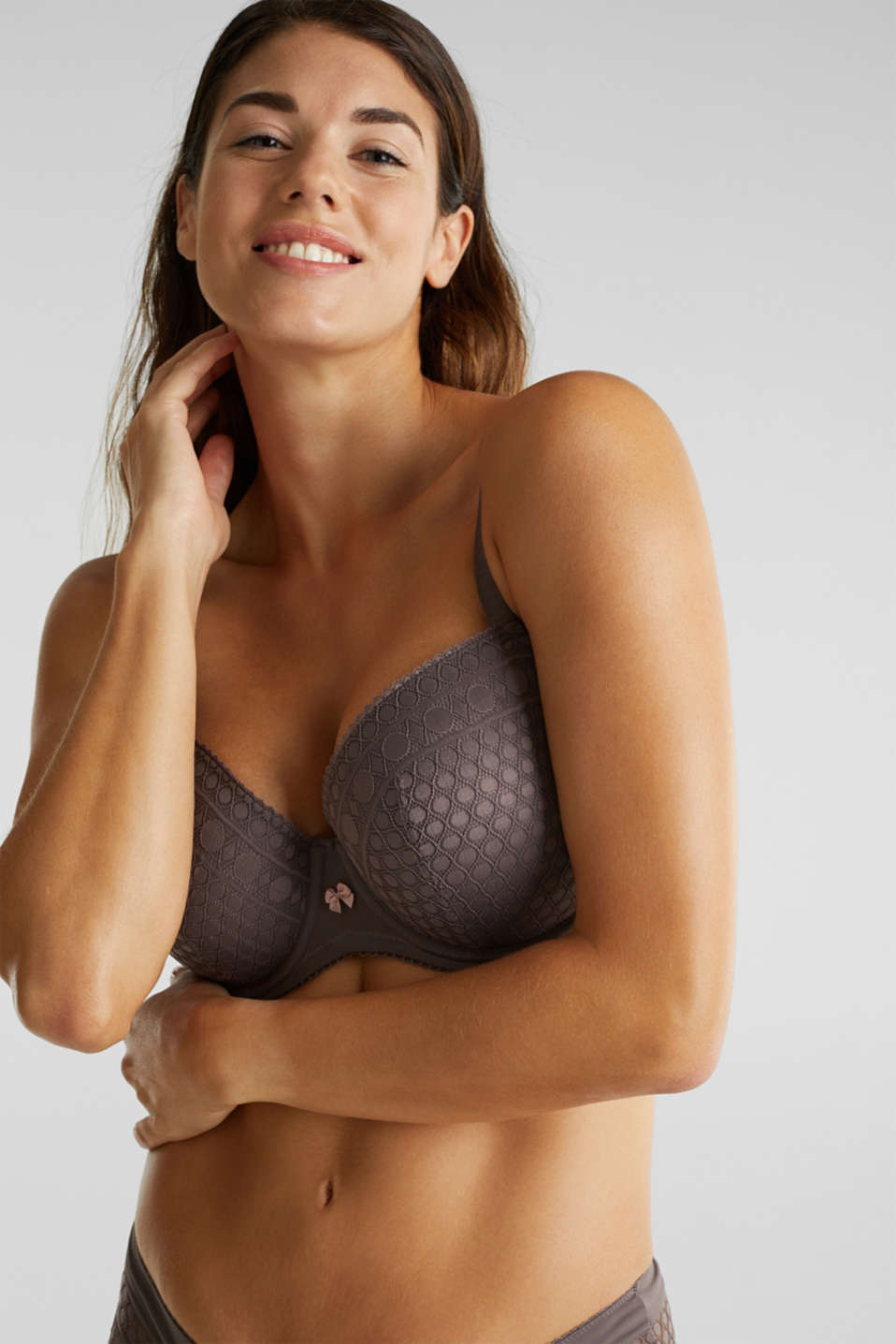 Padded, underwire bra for large cup sizes, TAUPE, detail image number 2