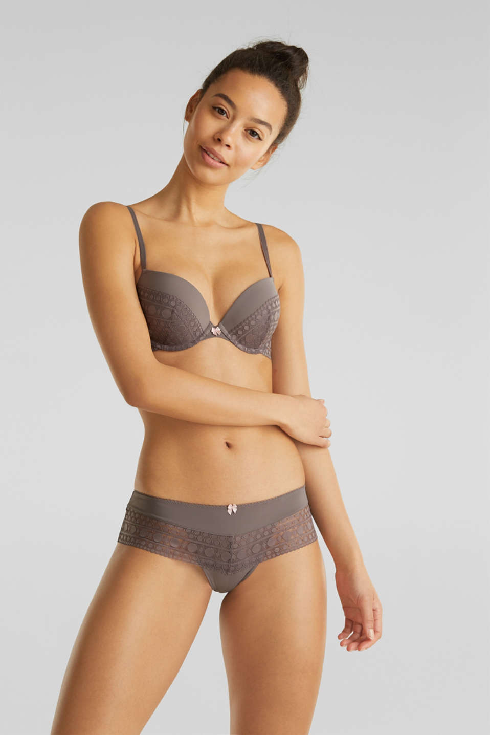 Push-up bra made of graphic lace, TAUPE, detail image number 0