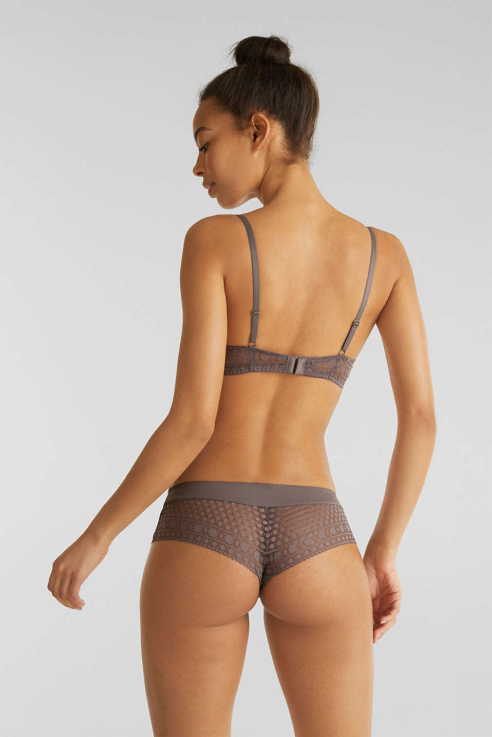 Push-up bra made of graphic lace, TAUPE, detail image number 1