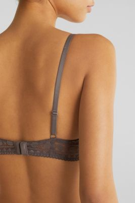 Push-up bra made of graphic lace, TAUPE, detail