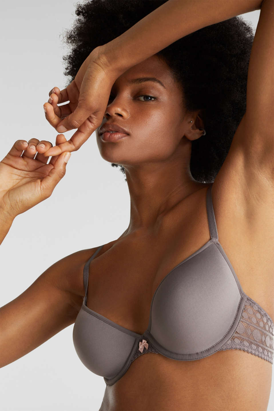 Padded underwire bra in graphic lace, TAUPE, detail image number 2