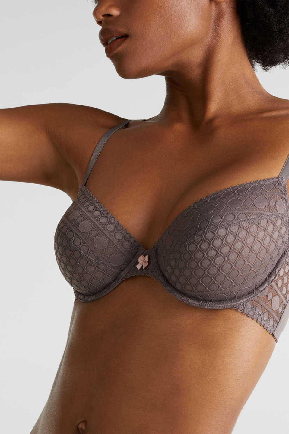 Unpadded underwire lace bra, TAUPE, detail image number 2